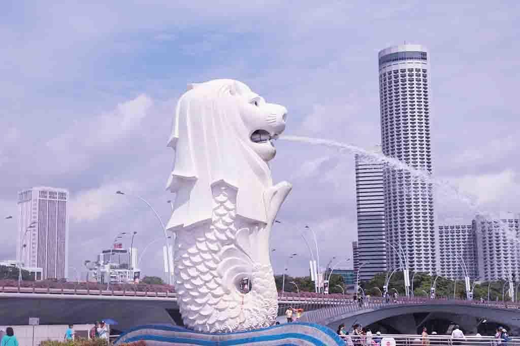 Merlion, patung singa laut di Singapura.
