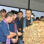 Gubernur NTB H. Zulkieflimansyah menyaksikan pembelian tembakau petani oleh perusahaan mitra di Terara Lotim, Senin (14/10). (Suara NTB/Humas Setda NTB)